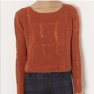 Topshop Burnt Orange Knit Ladder Cropped Sweater